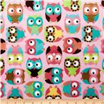 0267534 Minky Softie Owls Pink