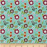 0271726 Riley Blake Little Matryoshka Floral Aqua