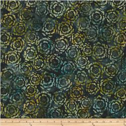 Artisan Batik Asian Legacy 3 Circle Flowers Meadows Green