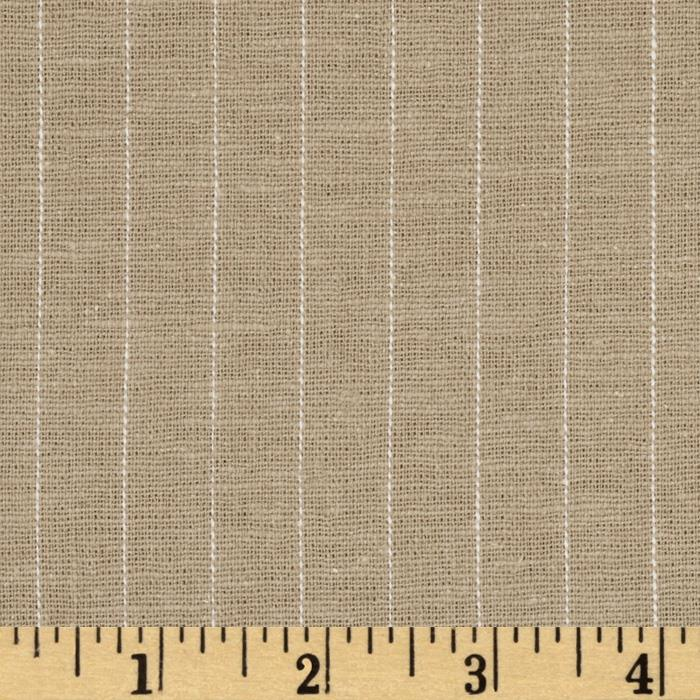 Stretch Linen Pin Stripe Taupe