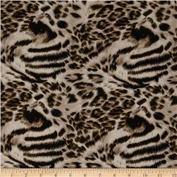 Promenade Rayon Challis Cat Spots Brown