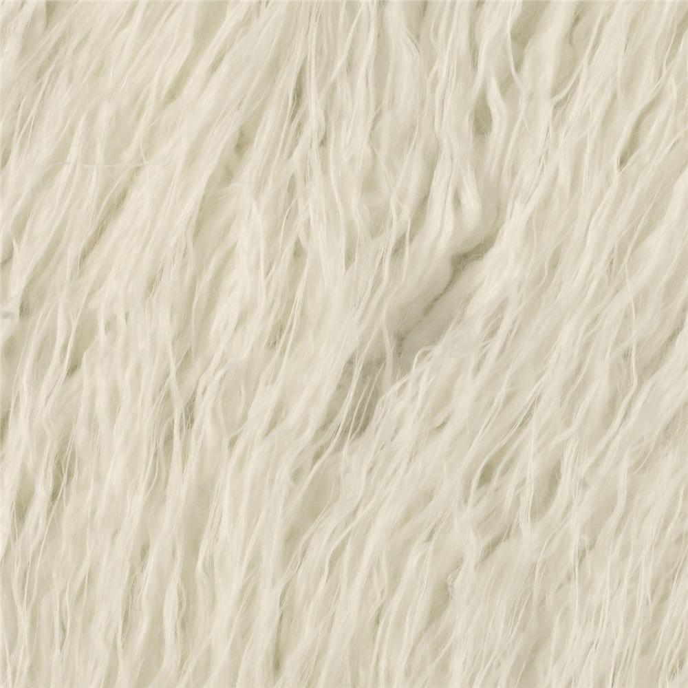 Faux Fur Curly Mongolian White