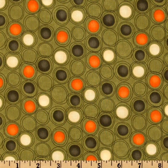Moda Grand Finale Circles &amp; Dots Moss