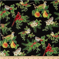 Christmas Carols Metallics Birds on Branches Black