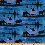 FD-183 Sunrise Sunset Moose Silhouettes Blue