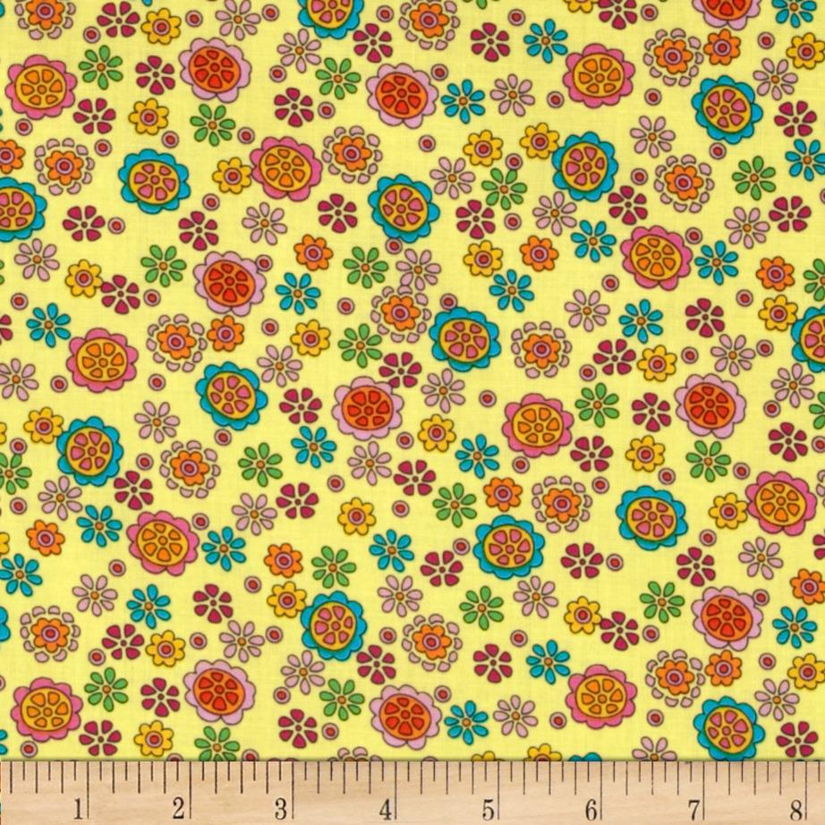 Timeless Treasures Kidz Flowers Yellow