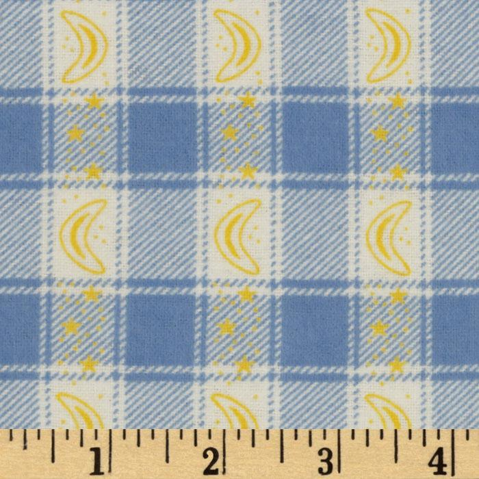 Flannel Plaid Moons Blue