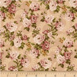 Lily and Peony Large Floral  Vines Tan
