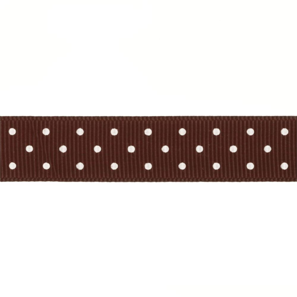 Riley Blake 5/8&quot; Grosgrain Ribbon Mini Dot Brown
