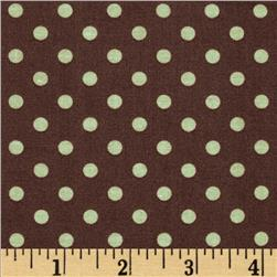 Michael Miller Laminated Cotton Dumb Dots Chocolate/Sage
