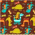 Michael Miller Flannel Dino Dudes Brown