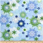 0279533 Sparkle Large Snowflakes Blue/Green