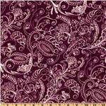 108'' Complementary Quilt Backing Dotty Paisley Plum