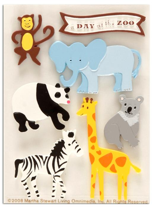 Martha Stewart Crafts Resin Stickers Zoo Animals