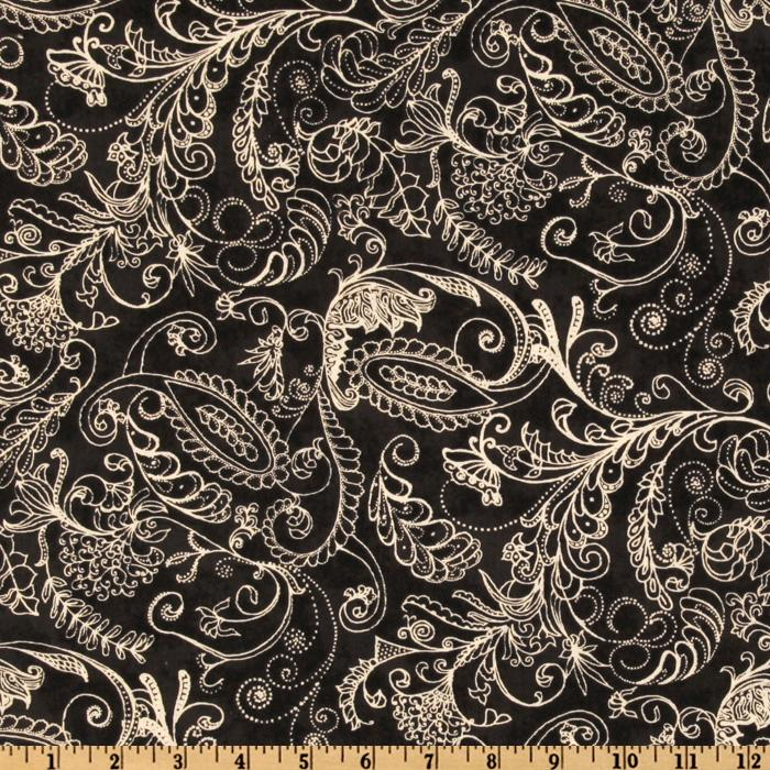 108'' Complementary Quilt Backing Dotty Paisley Black