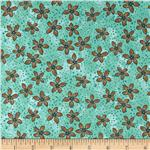 0272580 Romance Flowers & Dots Aqua/Brown