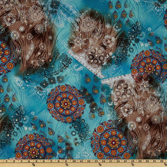 Cotton Lawn Abstract Floral White/Brown/Blue
