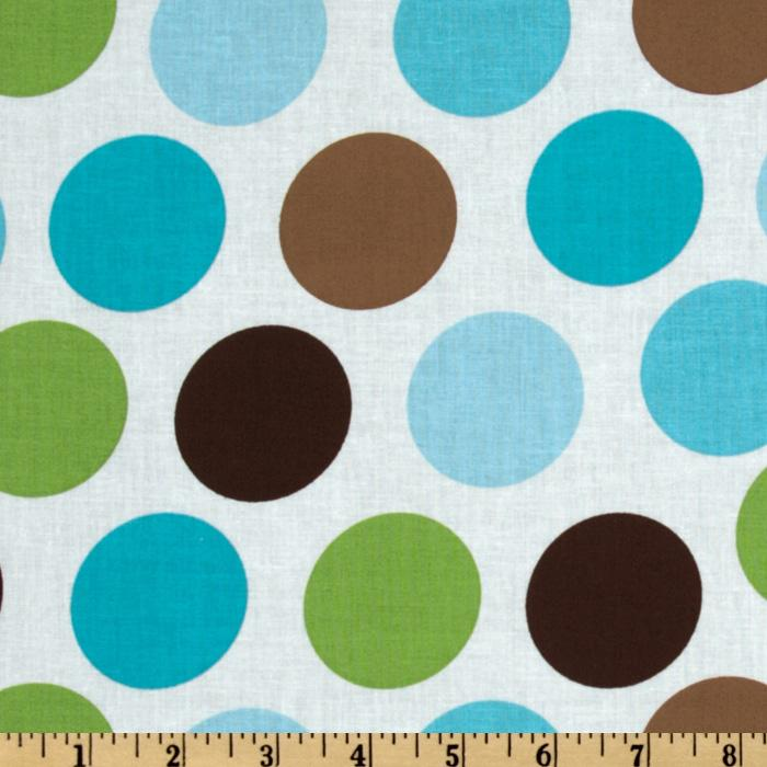 Large Dots Teal/Brown