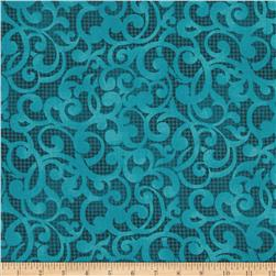 "Filigree 108"" Wide Quilt Backing Blue"