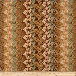Fairy Briar Metallic Floral Stripe Tan