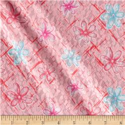 Novelty Stretch Lace Floral Pink/Teal