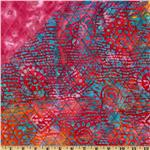 Double Sided Quilted Batik Small Swirl Pink Multi