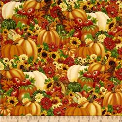 Harvest Abundance Packed Pumpkins and Flowers Orange/Multi