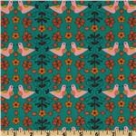 201397 Little Kukla Flowers And Birds Retro Teal