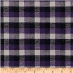 Yarn Dyed Flannel Plaid Purple/Black/Ivory