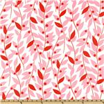 Nicey Jane Laminated Cotton Lindy Leaf Pink