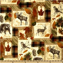 Timeless Treasures Cabin Fever Flannel Montage Natural