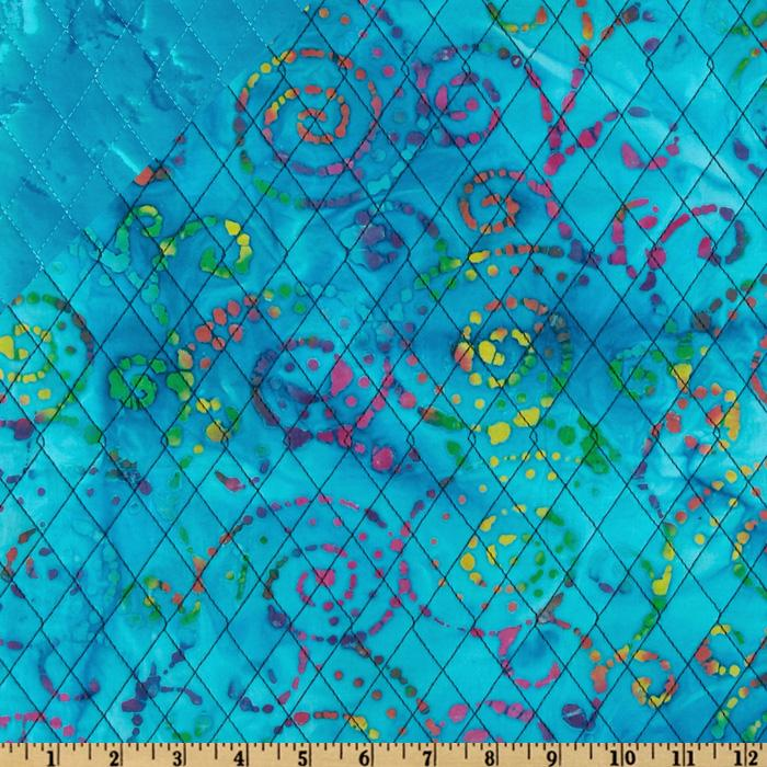 Double Sided Quilted Batik Swirl Aqua