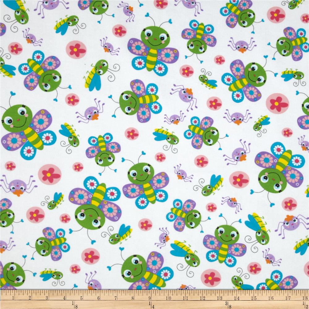 Fabri-Quilt Cuddle Flannel Bugs White/Multi