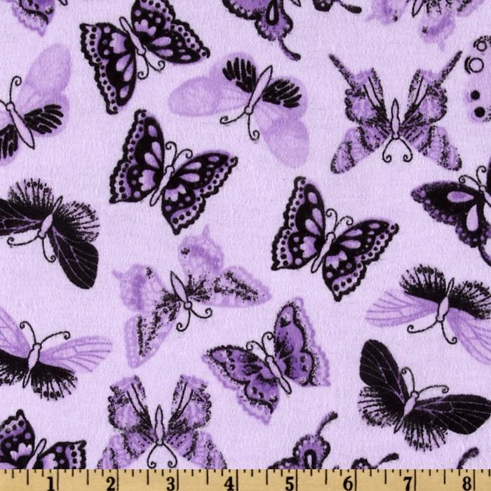 Comfy Flannel Black Butterfly Purple