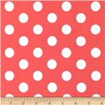 0296583 Stretch ITY Jersey Knit Large Dots Coral/White