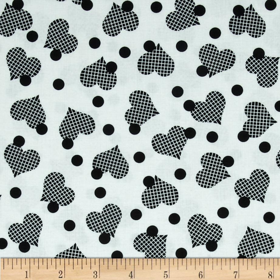 Exclusively Quilters Night and Day Tossed Hearts and Dots White