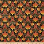 0273926 Taj Mahal Metallic Floral Orange/Gold