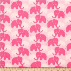 Flannel Elephants Tone on Tone Candy Pink