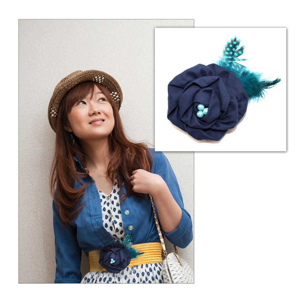 Laliberi Pin &amp; Clip Flower Rolled Rose &amp; Feather Blue
