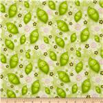 200994 Stitched Garden Peas &amp; Flowers Green