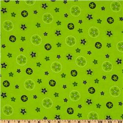 Bonny Bloom Flannel Flower Circles Lime