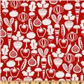 Michael Miller Retro Tiny Veggies Red