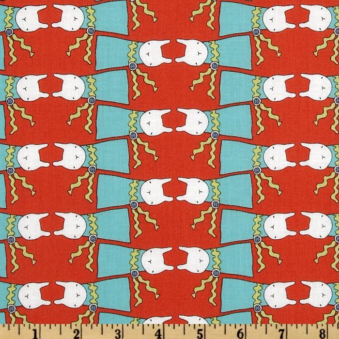 Ric Rac Rabbits All Dressed Up Aqua/Orange