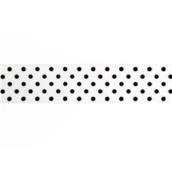 "1.5"" Grosgrain Polka Dots White/Black"