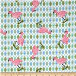 0281902 Donna Dewberry Noah&#39;s Flannel Ark Flamingo White