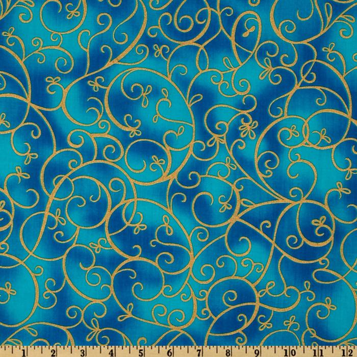 Timeless Treasures Shimmer Scroll Turquoise/Gold