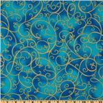 FF-577 Timeless Treasures Shimmer Scroll Turquoise/Gold