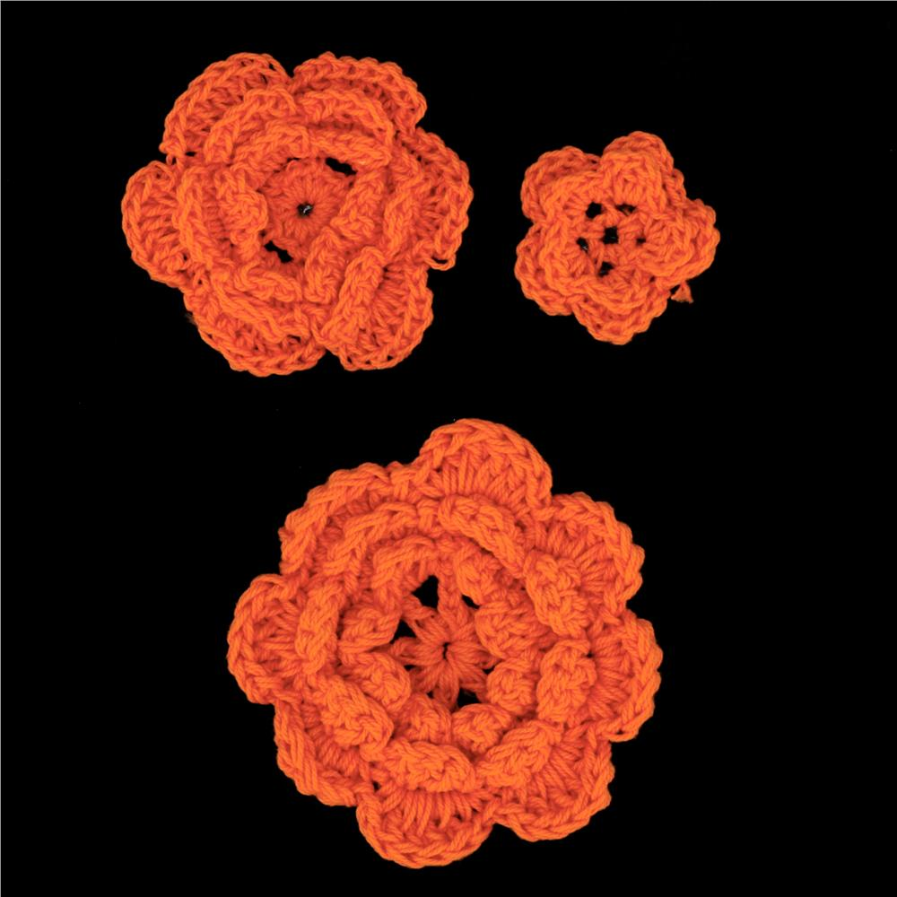Riley Blake Sew Together Crochet Flowers 3pk Orange