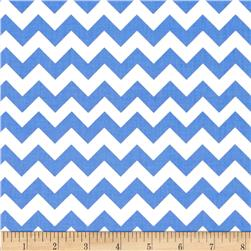 "Riley Blake 58"" Manufactures Cut Small Chevron Medium Blue"