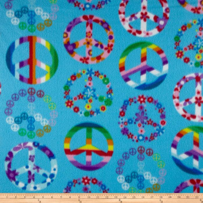 Winterfleece Peace Signs Blue